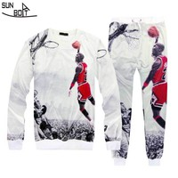 Free Shipping 3D Print Stars Jordan 23# Sweater And Pants two pieces Suit New Brand High Quality Casual Men/Women Clothing