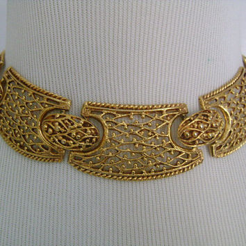 Elegant Rich Golden Color Gold Brass Metal Filigree Lace Design Egyptian Revival Cleopatra Style CollarChoker Necklace UnsignedVintageBeauty