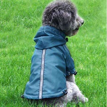 Reflective small medium Pet Dog cat RainCoat Jacket coat Clothes warm fleece Dogs Puppy Raincoat hooded Waterproof Rainsuit