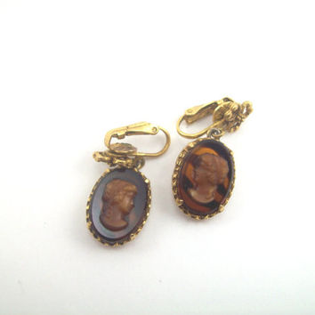 Vintage 1940's Turtle Shell Glass Cameo Earrings; Signed Lisner