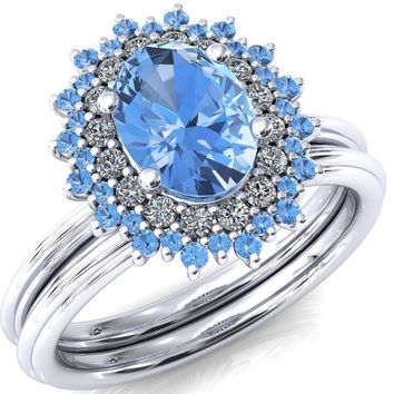 Eridanus Oval Lab-Created Aqua Blue Spinel Cluster Diamond and Aqua Blue Spinel Halo Wedding Ring ver.2