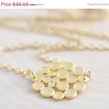 30% OFF - Gold Bubble Necklace - clearance, gold circle necklace, flower necklace, charm necklace, gold coin necklace, holiday sale