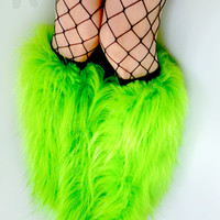 Rave Fluffies uv lime glitter legwarmers monster fur furry bootcovers fuzzy boots gogo