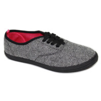 Zig-Zag Black Herringbone Lace Up Plimsolls