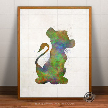Lion King Print Watercolor, Simba Poster, Disney Art, Illustration, Watercolour, Giclee Wall, Artwork, Comic, Fine, Home Decor