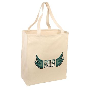 Philly Philly Funny Beer Drinking Large Grocery Tote Bag-Natural by TooLoud