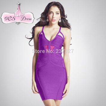 Free Shipping New 2016 Sexy Deep V Mesh Insert Cross Back Hater Cocktail Club Purple Bandage Dress for Women Night Out
