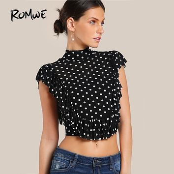 ROMWE Polka Dot Cute Ruffle Crop Blouse 2017 Bow Tie Slit Back Women Frill Trim Sexy Tops Fashion High Neck Elegant Slim Blouse