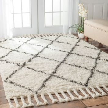 nuLOOM Hand-knotted Moroccan Trellis Natural Shag Wool Rug (5' x 8') - 15179264 - Overstock - Great Deals on Nuloom 5x8 - 6x9 Rugs - Mobile