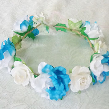 Big rose flower crown Blue white headband /Colorful flower headpiece /floral headpiece/ flower crown ribbon tie back