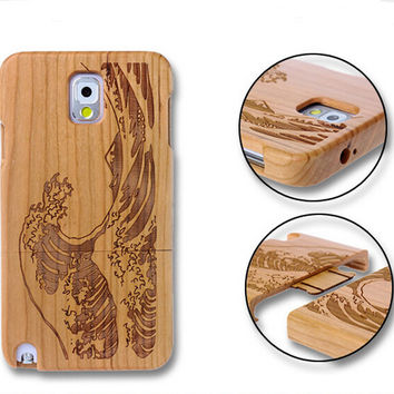 handmade bamboo wool carving waves iPhone 5s 6 6s plus creative case