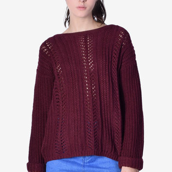 Roll Over Holed Out Sweater - Wine