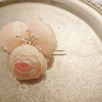 Bobby pin wedding hair clip  silk flower peonies champagne bridal hair piece custom