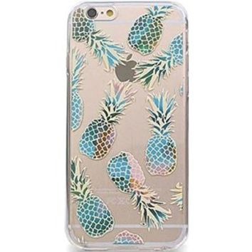 iPhone 6 plus Case, Protective Case Bumper[Scratch-Resistant] [Perfect Fit] Ultra Slim Translucent Silicone Clear Case Gel Cover for Apple iPhone 6 plus (Teal Pineapple Overload Clear iPhone 6 plus)
