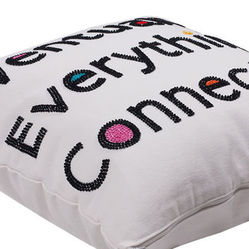 Eventually Everything Connects Hand Embroidered And Beaded Canvas Throw Pillow Multi