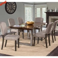 102039 Emerson Rectangle Dining Set - Gray Sheesham Fabric Chairs - Free Shipping!