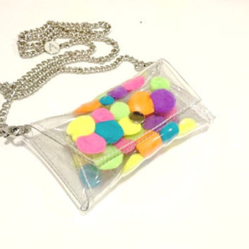 iphone chain bag, Phone Cases, chain iphone case colorfull kawaii bag Cellphone Bag, Small Purse, cellphone bag, cross body bag Cell pompon
