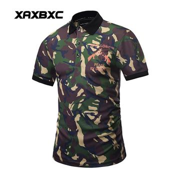 New 2017 Summer Classical Men Polo Shirt Peace Camouflage Army Green Prints Quick-dry Slim Fit Short Sleeve Men's Tees Clothing