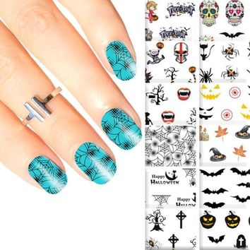 1PC Halloween Masquerade Party Costume Cosplay Skull Pumpkin Ghost Nail Paste DIY Nail Sticker Black Nail Decorative Flakes #E