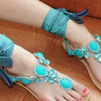 Mint Jeweled Flat Sandals with Ribbon