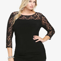 Lace Illusion Tunic Top