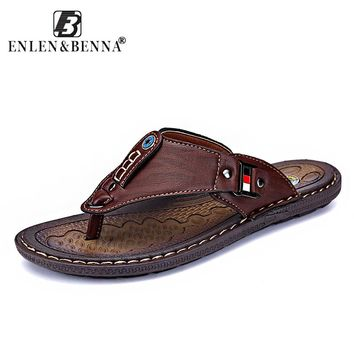 Men Leather Flip Flop Slippers