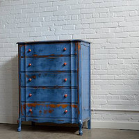 Pernalia- Blue Hand Painted Chest of Drawers