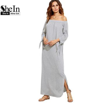SheIn Long Shift T-shirt Dresses For Ladies Summer Heather Grey Off The Shoulder Tie Long Sleeve Slit Maxi Dress
