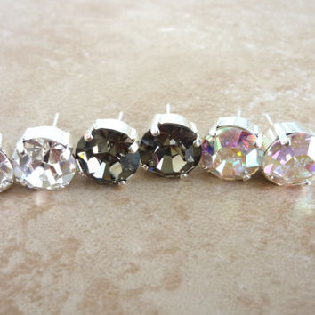 swarovski crystal earrings, 11mm studs, in crystal, black diamond, or crystal AB, not sabika, GREAT DEAL