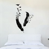 Feather Wall Decal Vinyl Sticker Decals Bird Home Decor Art Birds Of A Feather Nib Style Living Room Decor Boho Bedroom Nursery Dorm ZX154