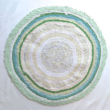 Round Rag Rug- Scrap Fabric Twine- Green, Teal, Light blue, Beige, and white