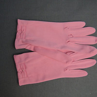 50s Pink  Gloves size 6-1/2, Vintage 1950s Nylon Dress Gloves by Van Raalte
