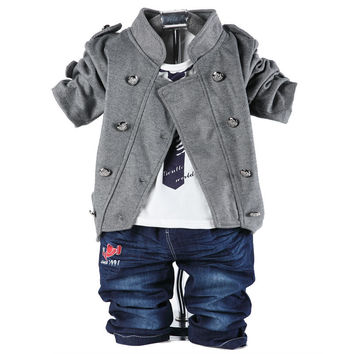 Double-Button Three-Piece Set Baby Boys 0-3 years old