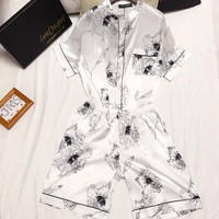 Dolce & Gabbana Women Men Couple Pattern Print Shorts Shirt Robe Sleepwear Loungewear Set Two-Piece