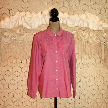 Rosy Pink Cotton Blouse Ruffled Tuxedo Front Casual Shirt Long Sleeve Blouse Button Up Blouse LL Bean Size 16 XL Womens Plus Size Clothing
