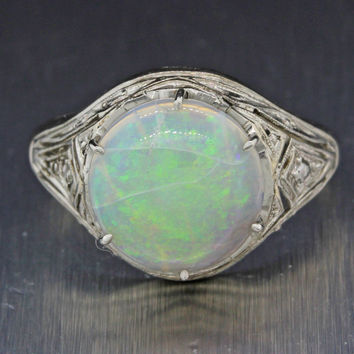 1930s Antique Art Deco Estate Platinum 2.24ct 10m x 3mm Round Opal Cocktail Ring