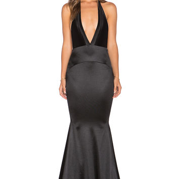 Gemeli Power Las Lasciiv Gown in Shiny Black