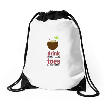 drink in my hand Drawstring Bags