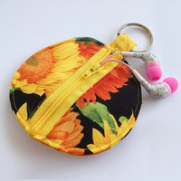 Earbud Holder / Coin Pouch / Sunflower Coin Purse / Sunflowers / Harvest / Sun Flower / Earbud Case / Ear Bud Holder / Small Pouch