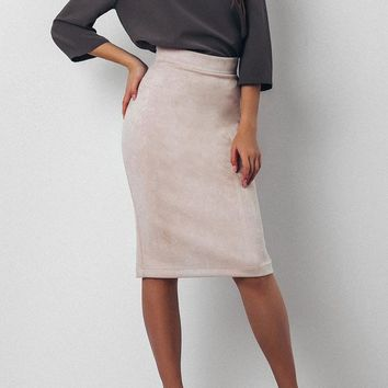 Split Vintage Suede Bodycon Skirt High Waist Women Knee Length Pencil Skirt Solid OL Office Elegant Skirts Womens 2018