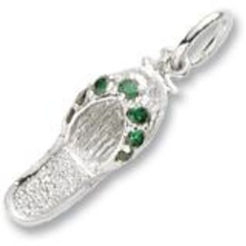 Emerald Green Sandal Charm In Sterling Silver