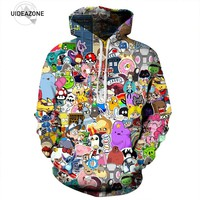 2017 All Over Printed Hoodie Cartoon Character Graphic Tracksuit Men Women Tops