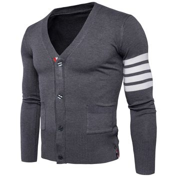 Sweater Cardigan Men Male Brand Casual Slim Sweaters Men Simple Casual  Hedging V-Neck Men'S Sweater