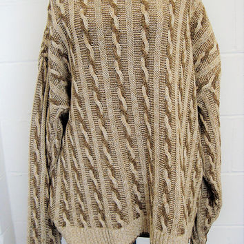 Vintage St. John's Bay Oversized Men's Sweater, Brown Cable Knit