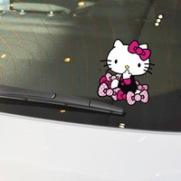 Car Stickers Hello KItty Cartoon Bowknot Lovely Cute Creative Decals For Tail Waterproof Auto Tuning Styling D16