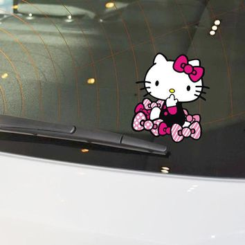 Car Stickers Hello KItty Cartoon Bowknot Lovely Cute Creative Decals For Tail Waterproof Auto Tuning Styling D15
