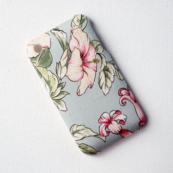 Recycled iPhone Case, iPhone 3 Case, Blue Floral Pattern
