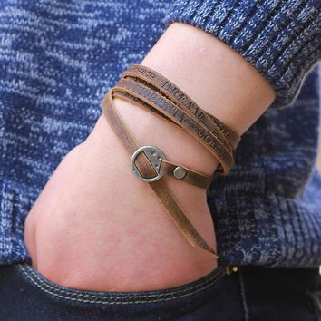 Modern Rustic Leather Wrap Bracelet