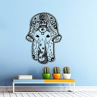 Hamsa Hand Wall Decal Vinyl Sticker Decals Lotus Flower Yoga Namaste Indian Ornament Moroccan Pattern Om Mandala Home Decor Bedroom Art Design Interior NS383