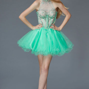 G2029 High Neck Ballerina Homecoming Cocktail Dress